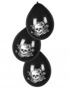 6 palloncini in lattice neri scheletro floreale