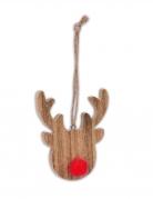 Mini renna in legno con naso rosso da appendere