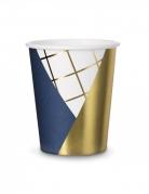 6 bicchieri in cartone blu bianchi e oro