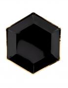 6 piatti in cartone neri con bordo oro 23 cm