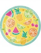 8 piatti in cartone frutta estiva 23 cm
