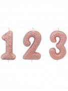 Candelina di compleanno con numero oro rosa e brillantini