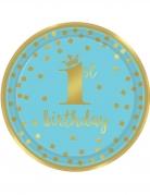 8 piatti 1° compleanno oro e blu 23 cm