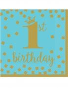 16 tovaglioli 1° compleanno oro e blu