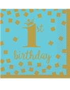 16 mini tovaglioli 1° compleanno oro e blu