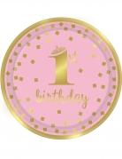 8 piatti 1° compleanno oro e rosa 23 cm