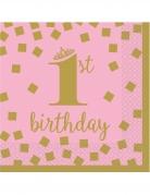 16 mini tovaglioli 1° compleanno oro e rosa