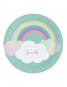 8 piatti in cartone color menta nuvoletta 23 cm