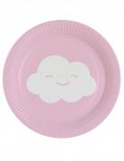 8 piattini in cartone iridescente nuvoletta 18 cm