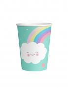 8 bicchieri in cartone color menta nuvoletta