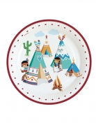 8 piatti in cartone tribù indiani 23 cm