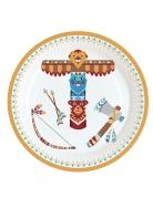 8 piattini in cartone tribù indiani 18 cm
