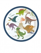 8 piattini in cartone grandi dinosauri 18 cm