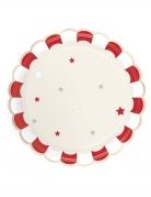 8 piatti in cartone smerlati rosso e avorio 23 cm