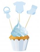 3 decorazioni per dolci bebè blu