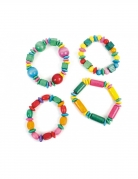 1 bracciale con perline in legno multicolor