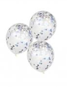5 palloncini trasparenti con coriandoli iridescenti
