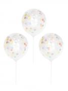 5 palloncini trasparenti con coriandoli e asta