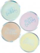 8 piatti in cartone pastello iridescenti Happy Birthday