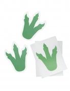 6 adesivi impronte dinosauri verdi