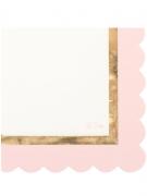 16 tovaglioli di carta bianchi e rosa con riga dorata