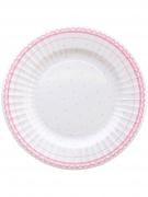 8 piatti in cartone pois e ricami rosa 27 cm