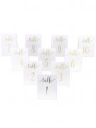 10 segna tavoli bianchi con numeri oro