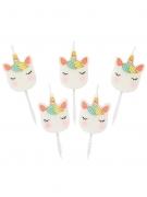 5 candeline unicorno bianco e pastello