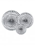 3 rosoni in carta color argento 23,32 e 40 cm