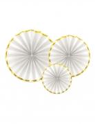 3 rosoni bianchi con bordino oro 40 32 e 23 cm