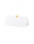 10 segnaposto in carta bianca con cuore oro