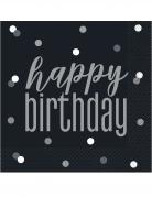 16 tovaglioli di carta Happy Birthday pois grigi