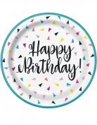 8 piattini in cartone triangoli Happy Birthday 18 cm