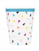 8 bicchieri in cartone triangoli Happy Birthday