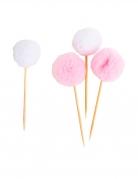 8 stecchini con pon pon in tulle rosa e bianco