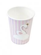 6 Bicchieri di carta cigno bianco e rosa 270ml