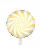 Palloncino alluminio lecca lecca giallo e bianco