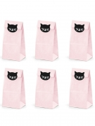 6 Bustine regalo in carta gattini rosa