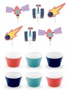 Kit decorazioni per cupcakes avventura nello spazio