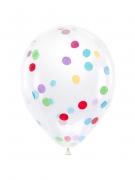 6 palloncini trasparenti con coriandoli multicolor