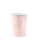 6 bicchieri in cartone rosa con pois oro