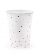 6 bicchieri in cartone bianco con pois oro rosa