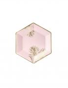 6 piatti in cartone tropical rosa e oro 23 cm