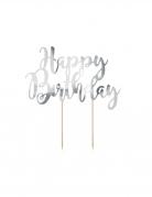 Decorazione per torte Happy Birthday argento