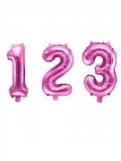 Palloncino alluminio numero color rosa 35 cm