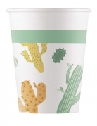 8 bicchieri in cartone tema cactus