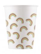 8 bicchieri in cartone rainbow party