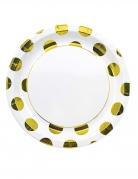 8 piatti in cartone bianchi grandi pois dorati 23 cm
