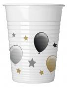 8 bicchieri in plastica palloncini e stelle oro e argento