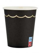 8 bicchieri in cartone neri bordino oro